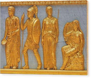 24 Kt. Gold Greek Figures Wood Print by Linda Phelps
