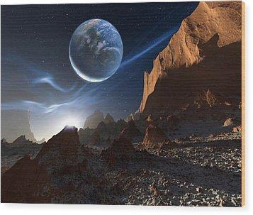 Alien Landscape, Artwork Wood Print by Detlev Van Ravenswaay