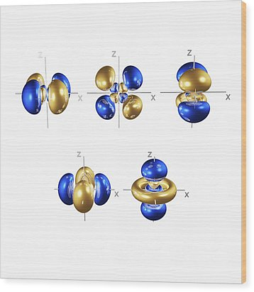 4d Electron Orbitals Wood Print by Dr Mark J. Winter