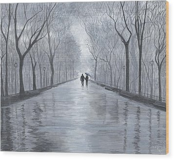 Wood Print featuring the painting A Walk In The Park In Black And White by Stuart B Yaeger