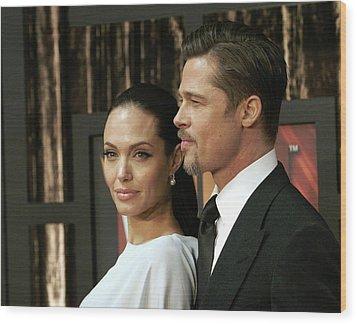 Angelina Jolie, Brad Pitt At Arrivals Wood Print by Everett