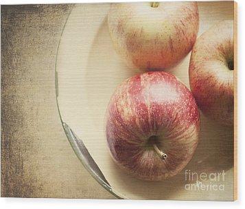 3 Apples Wood Print