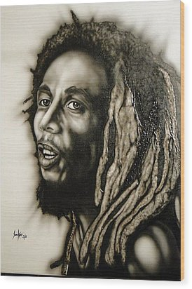Bob Marley  Wood Print by Stephen Sookoo