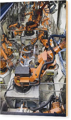 Car Factory Production Line Wood Print by Arno Massee