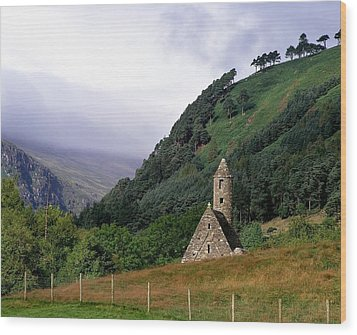 Chapel Of Saint Kevin At Glendalough Wood Print by The Irish Image Collection