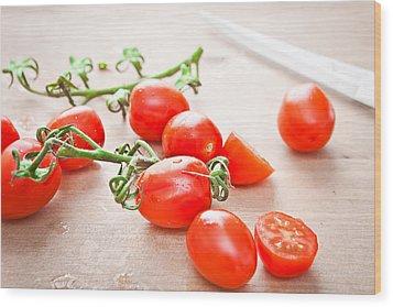 Cherry Tomatoes Wood Print by Tom Gowanlock
