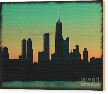 Chicago Skyline Cartoon Wood Print by Sophie Vigneault