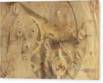 Clockwork Mechanism Wood Print by Michal Boubin
