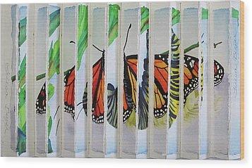 3 D Caterpillar And Butterfly Wood Print by Teresa Beyer