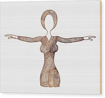 Fashion Sketch Wood Print by Frank Tschakert