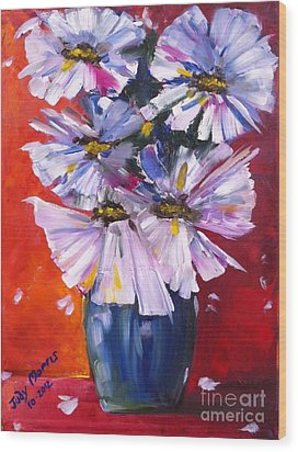 Flowers In Blue Vase  Wood Print by Judy Morris