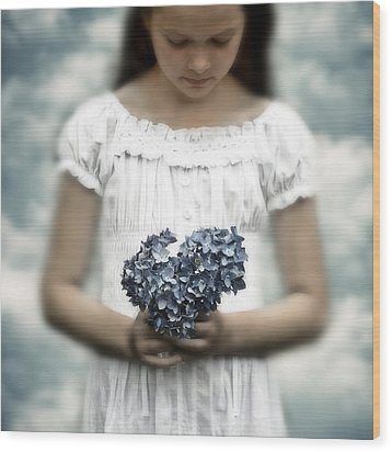 Girl With Hydrangea Wood Print by Joana Kruse