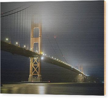 Wood Print featuring the photograph Golden Gate Bridge At Night by Mike Irwin
