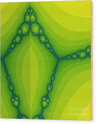 Green Fractal  Wood Print by Odon Czintos