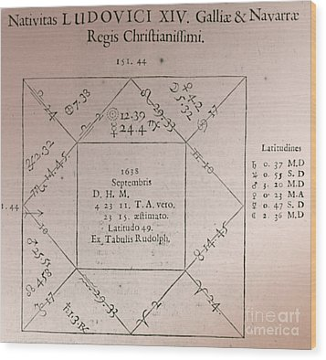 Horoscope Chart For Louis Xiv, 1661 Wood Print by Science Source