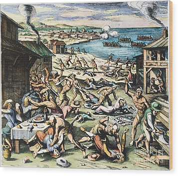 Jamestown: Massacre, 1622 Wood Print by Granger