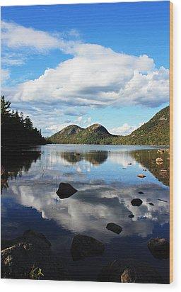 Jordan Pond Wood Print by Becca Brann