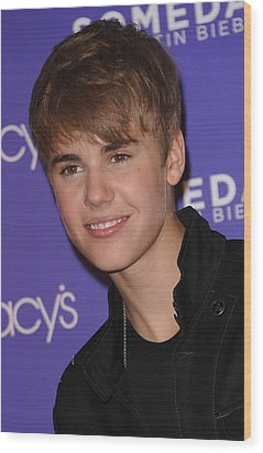 Justin Bieber At In-store Appearance Wood Print by Everett