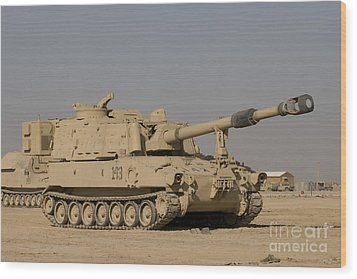 M109 Paladin, A Self-propelled 155mm Wood Print by Terry Moore