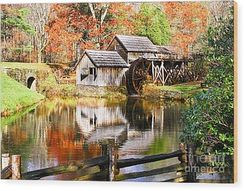 Mabry Mill Wood Print by Ronald Lutz