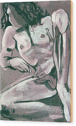 Male Nude Wood Print by Joanne Claxton