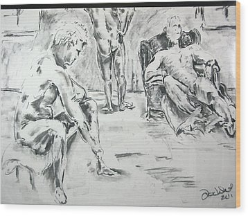 Wood Print featuring the drawing 3 Men Relaxing by Brian Sereda
