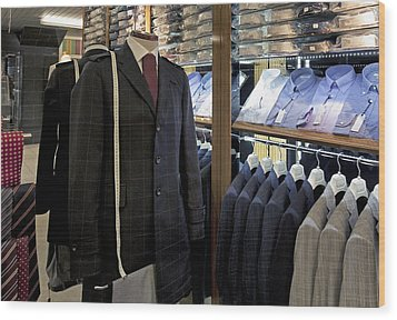 Menswear On Display At A Clothes Shop Wood Print by Jaak Nilson