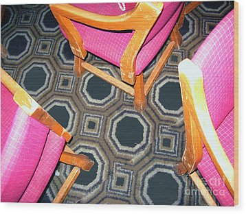 3 Pink Chairs                  Wood Print