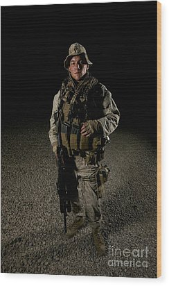 Portrait Of A U.s. Marine Wood Print by Terry Moore