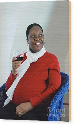 Pregnant Woman Drinking Wine Wood Print by Photo Researchers