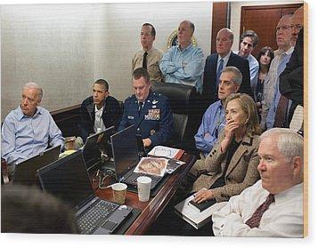 President Barack Obama And Vice Wood Print by Everett