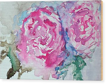Wood Print featuring the painting Red Roses by Raymond Doward