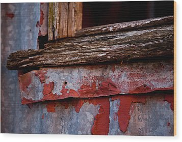 Red Shed Series Wood Print by Carole Hinding