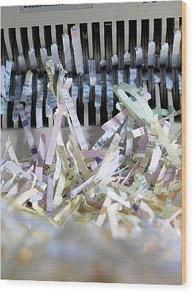 Shredded Paper Wood Print by Tek Image