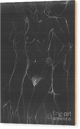 3 Sides Of A Woman In Night Wood Print by Roswitha Schmuecker
