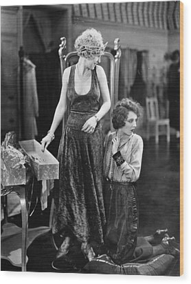 Silent Film Still: Sewing Wood Print by Granger