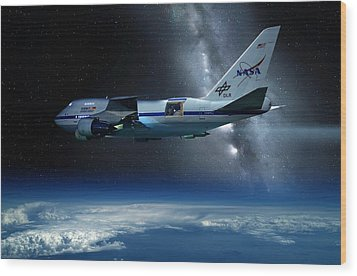 Sofia Airborne Observatory In Flight Wood Print by Detlev Van Ravenswaay
