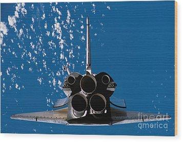 Space Shuttle Atlantis Wood Print by Stocktrek Images