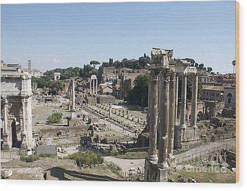 Temple Of Saturn In The Forum Romanum. Rome Wood Print by Bernard Jaubert
