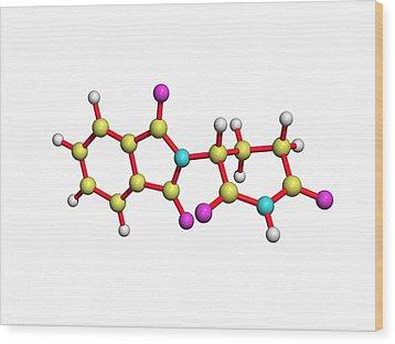 Thalidomide Drug Molecule Wood Print by Dr Tim Evans