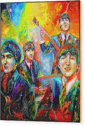 The Beatles Wood Print by Leland Castro