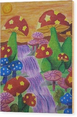 The Enchanted Mushroom Forest Wood Print by Adam Wai Hou