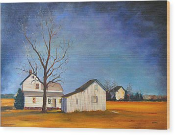 The Last Farm Wood Print by Robert Henne