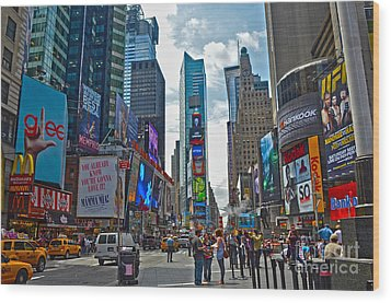 Times Square Wood Print by Pravine Chester