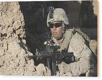 U.s. Marine Provides Security Wood Print by Stocktrek Images