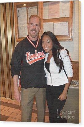 Womans World Champion Wrestler Gail Kim And Myself Wood Print by Jim Fitzpatrick