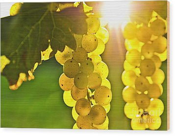 Yellow Grapes Wood Print by Elena Elisseeva