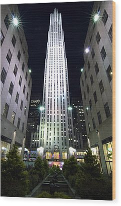 Wood Print featuring the photograph 30 Rock by Michael Dorn