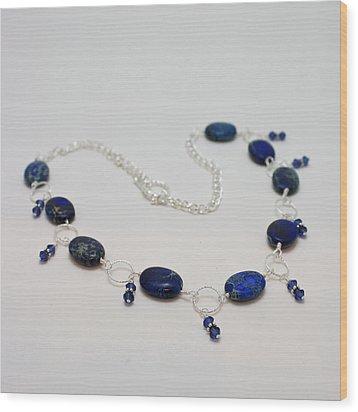 3589 Blue Sea Sediment Jasper Necklace Wood Print by Teresa Mucha