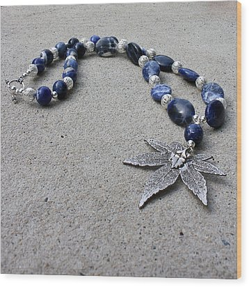 3593 Sodalite And Silver Necklace With Japanese Maple Leaf Pendant  Wood Print by Teresa Mucha